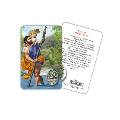 St. Christopher - Plasticized religious card with medal
