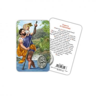 S. Cristoforo - Immagine religiosa plastificata (card) con medaglietta