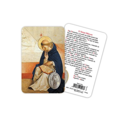 Saint Dominic - Plasticized religious card with medal