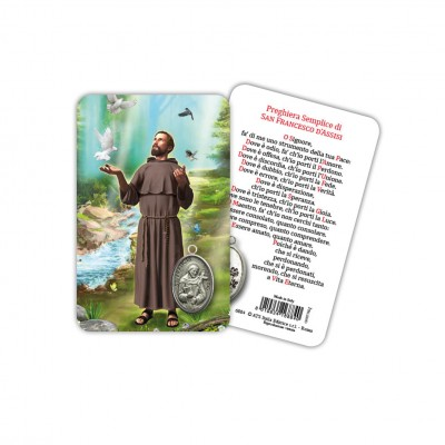 San Francesco d'Assisi - Immagine religiosa plastificata (card) con medaglietta