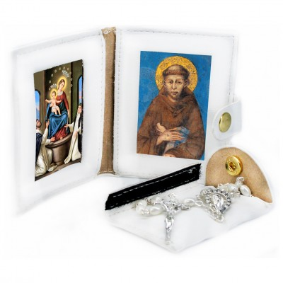 Our Lady of Rosary - Saint Francis - Leather Pochette with Rosary
