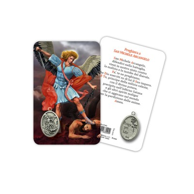 Saint Michael Archangel - Plasticized religious card with medal
