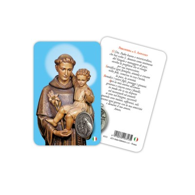 Saint Anthony - Plasticized religious card with medal