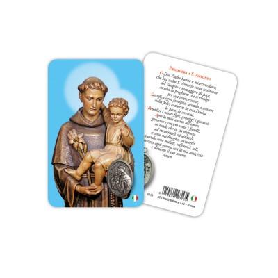 Sant'Antonio - Immagine religiosa plastificata (card) con medaglietta