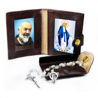 St Pio - Miracoulous Madonna - Leather Pochette with Rosary