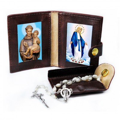 Saint Antony - Miracoulous Madonna - Leather Pochette with Rosary