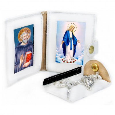 Saint Benedict - Miracoulous Madonna - Leather Pochette with Rosary