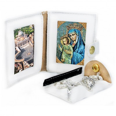 Saint Peter's Basilica - Mater Dei - Leather Pochette with Rosary