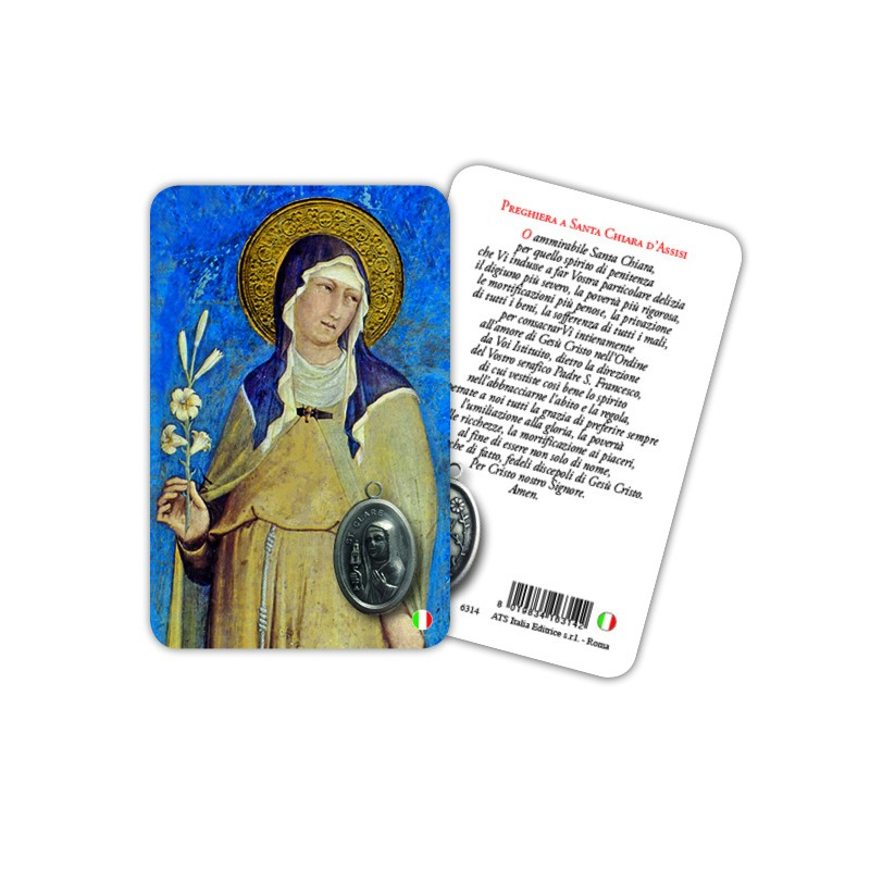 Saint Clare - Laminated prayer card with medal