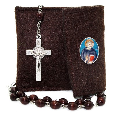 Pochette in felt with pin and crystal glass rosary
