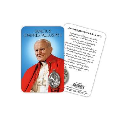 Saint John Paul II - Plasticized religious card with medal