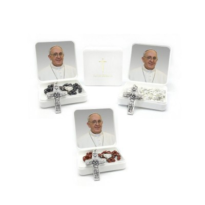Papa Francesco - Scatola con Rosario chicco di riso