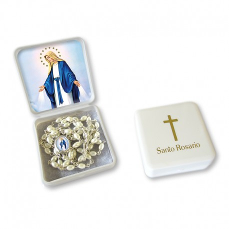 "Large Rosary case ""Miraculous Madonna"" with imitation pearl Rosary, oval grains"