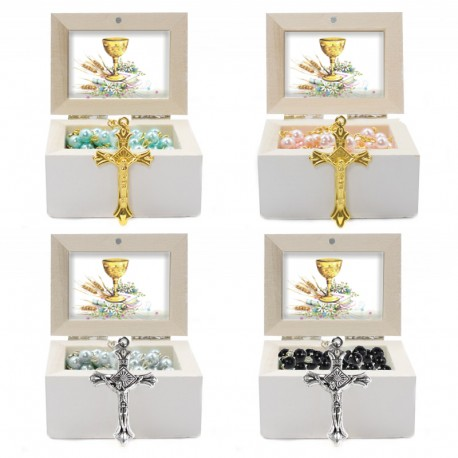 Wooden Jewellery case with glass Rosary