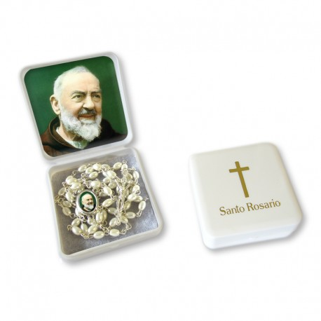 "Scatola portarosario grande ""San Pio"" con Rosario similperla grani ovali"