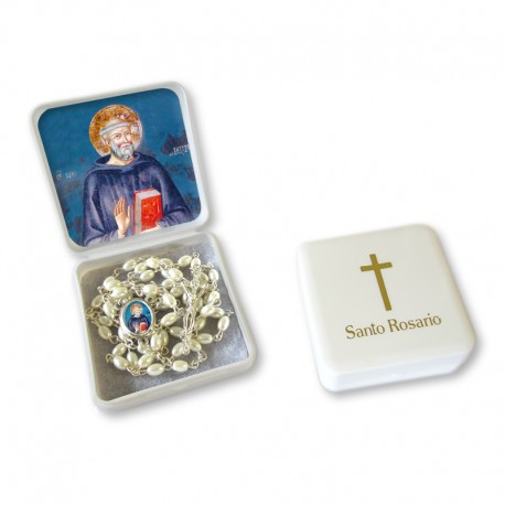 "Large Rosary case ""Saint Benedict"" with imitation pearl Rosary, oval grains"
