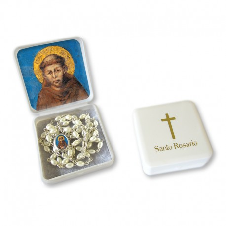 "Large Rosary case ""Saint Francis"" with imitation pearl Rosary, oval grains"