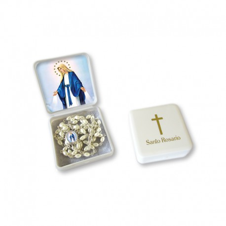 "Small Rosary case ""Miraculous Madonna"" with imitation pearl Rosary, oval grains"