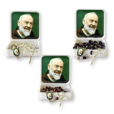 "Small Rosary case ""Saint Pio"" with imitation pearl Rosary, oval grains"