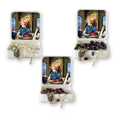 "Small Rosary case ""Our Lady of the Rosary"" with imitation pearl Rosary, oval grains"