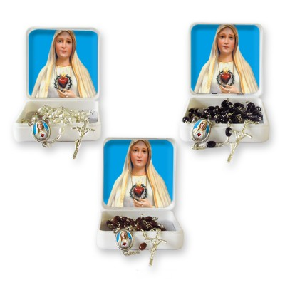 "Small Rosary case ""Our Lady of Fatima"" with imitation pearl Rosary, oval grains"