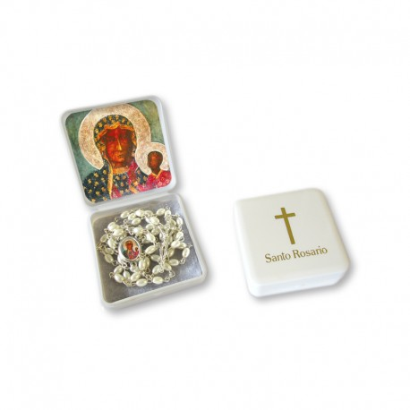 "Small Rosary case ""Our Lady of Czestochowa"" with imitation pearl Rosary, oval grains"
