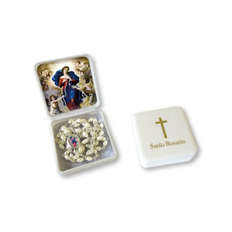 "Small Rosary case ""Our Lady Untier of Knots"" with imitation pearl Rosary, oval grains"