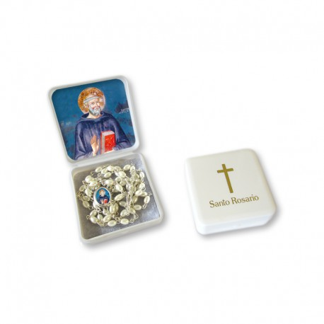 "Small Rosary case ""Saint Benedict"" with imitation pearl Rosary, oval grains"