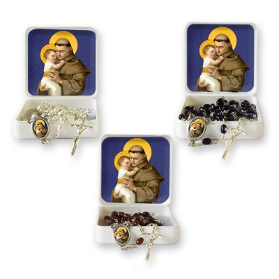 "Small Rosary case ""Saint Antony"" with imitation pearl Rosary, oval grains"