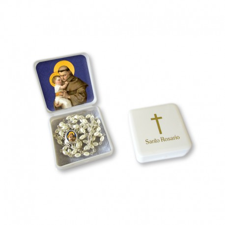 """Small Rosary case """"Saint Antony"""" with imitation pearl Rosary, oval grains"""