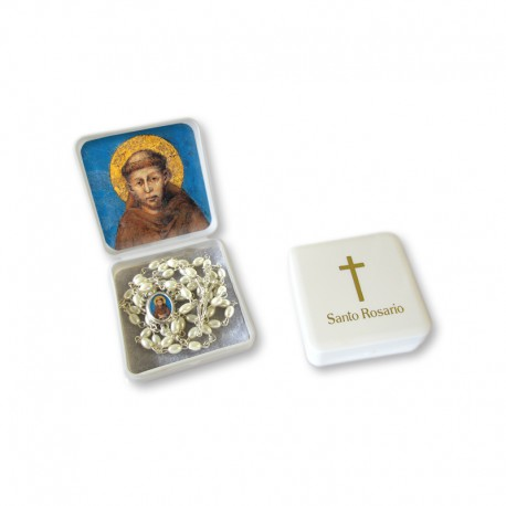 """Small Rosary case """"Saint Francis"""" with imitation pearl Rosary, oval grains"""