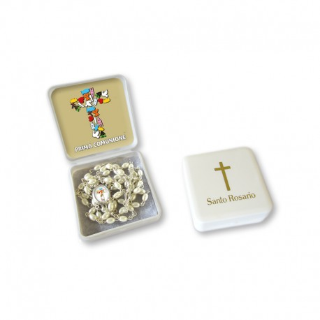 "Small Rosary case ""First Communion"" with imitation pearl Rosary, oval grains"