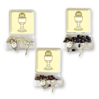 "Small Rosary case ""First Communion Chalice"" with imitation pearl Rosary, oval grains"