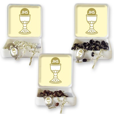 "Large Rosary case ""First Communion Chalice"" with imitation pearl Rosary, oval grains"