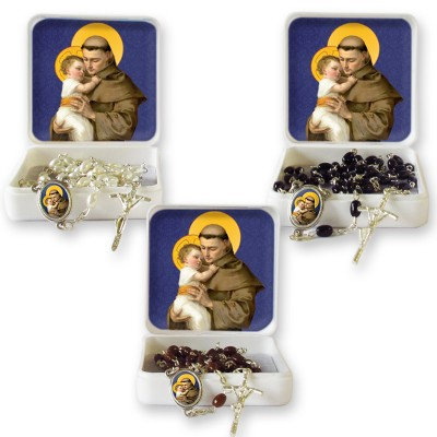 "Large Rosary case ""Saint Antony"" with imitation pearl Rosary, oval grains"