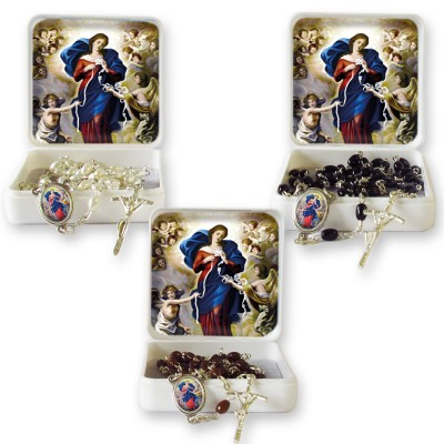 "Large Rosary case ""Our Lady Untier of Knots"" with imitation pearl Rosary, oval grains"