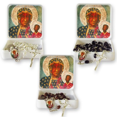 "Large Rosary case ""Our Lady of Czestochowa"" with imitation pearl Rosary, oval grains"