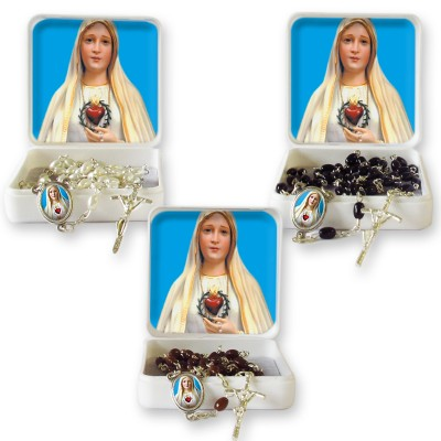 "Large Rosary case ""Our Lady of Fatima"" with imitation pearl Rosary, oval grains"
