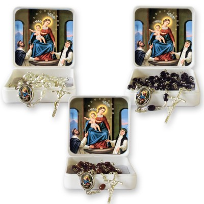 "Large Rosary case ""Our Lady of the Rosary"" with imitation pearl Rosary, oval grains"