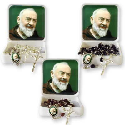 "Large Rosary case ""Saint Pio"" with imitation pearl Rosary, oval grains"