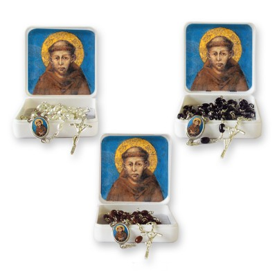 "Small Rosary case ""Saint Francis"" with imitation pearl Rosary, oval grains"