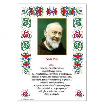 San Pio - Immagine sacra su carta pergamena