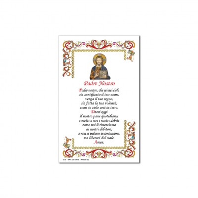 Prayer Our Father - Holy picture on parchment paper