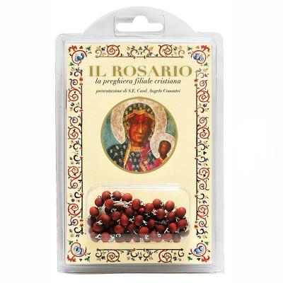 """Madonna di Czestochowa  - Libretto """"Il Rosario, la preghiera filiale cristiana"""" con rosario in legno profumato"""