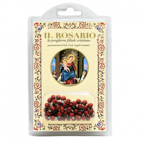 """Madonna del Rosario - Libretto """"Il Rosario, la preghiera filiale cristiana"""" con rosario in legno profumato"""