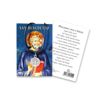 """Picture """"Saint Benedict"""" with medal and string"""