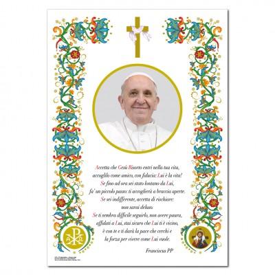 Papa Francesco - Immagine sacra su carta pergamena