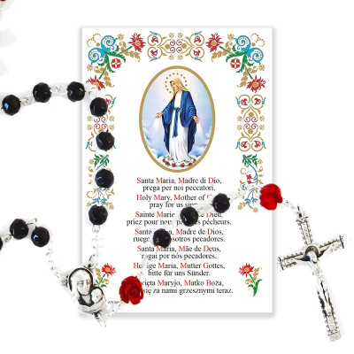 Miraculous Madonna - Holy picture on parchment paper with rosary
