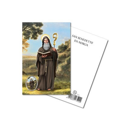 SAINT BENEDICT - Metal pin with Holy Picture