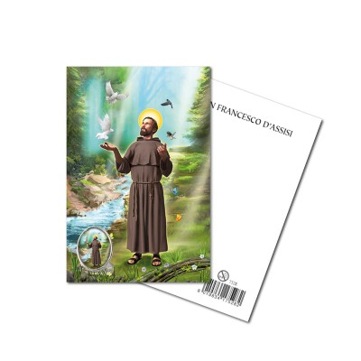 SAINT FRANCIS - Metal pin with Holy Picture